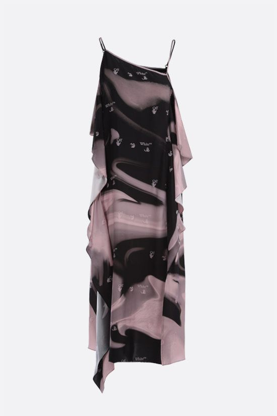 OFF WHITE: Liquid Melt twill slip dress Color Neutral_1