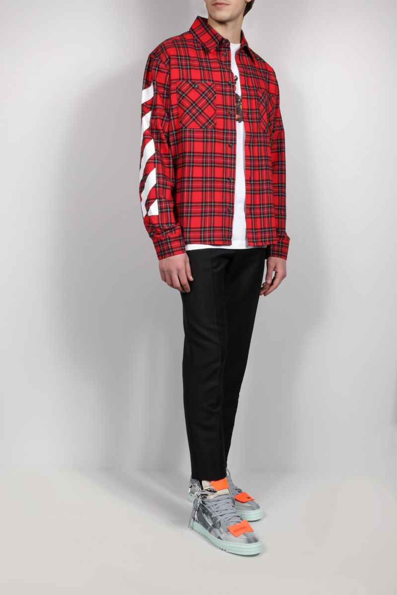 OFF WHITE: Diag checked flannel shirt Color Red_2