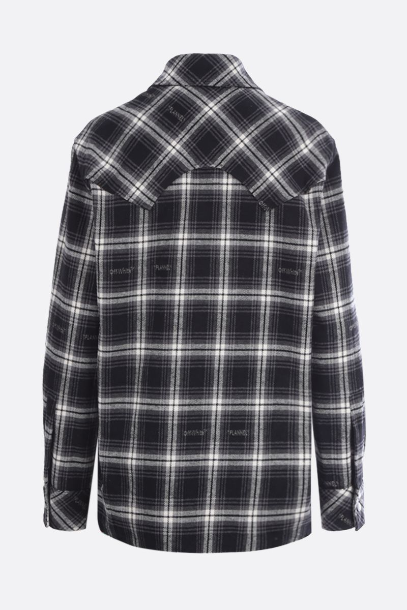OFF WHITE: check flannel boxy shirt Color Black_2