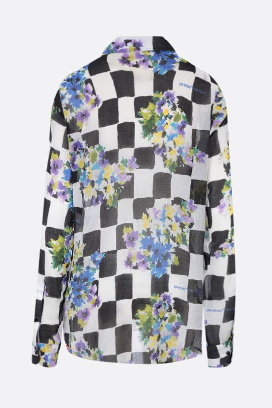 OFF WHITE: Check Flowers silk blend shirt Color Black_2