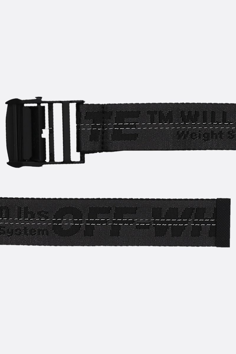 OFF WHITE: Classic Industrial belt in logoed fabric Color Black_2