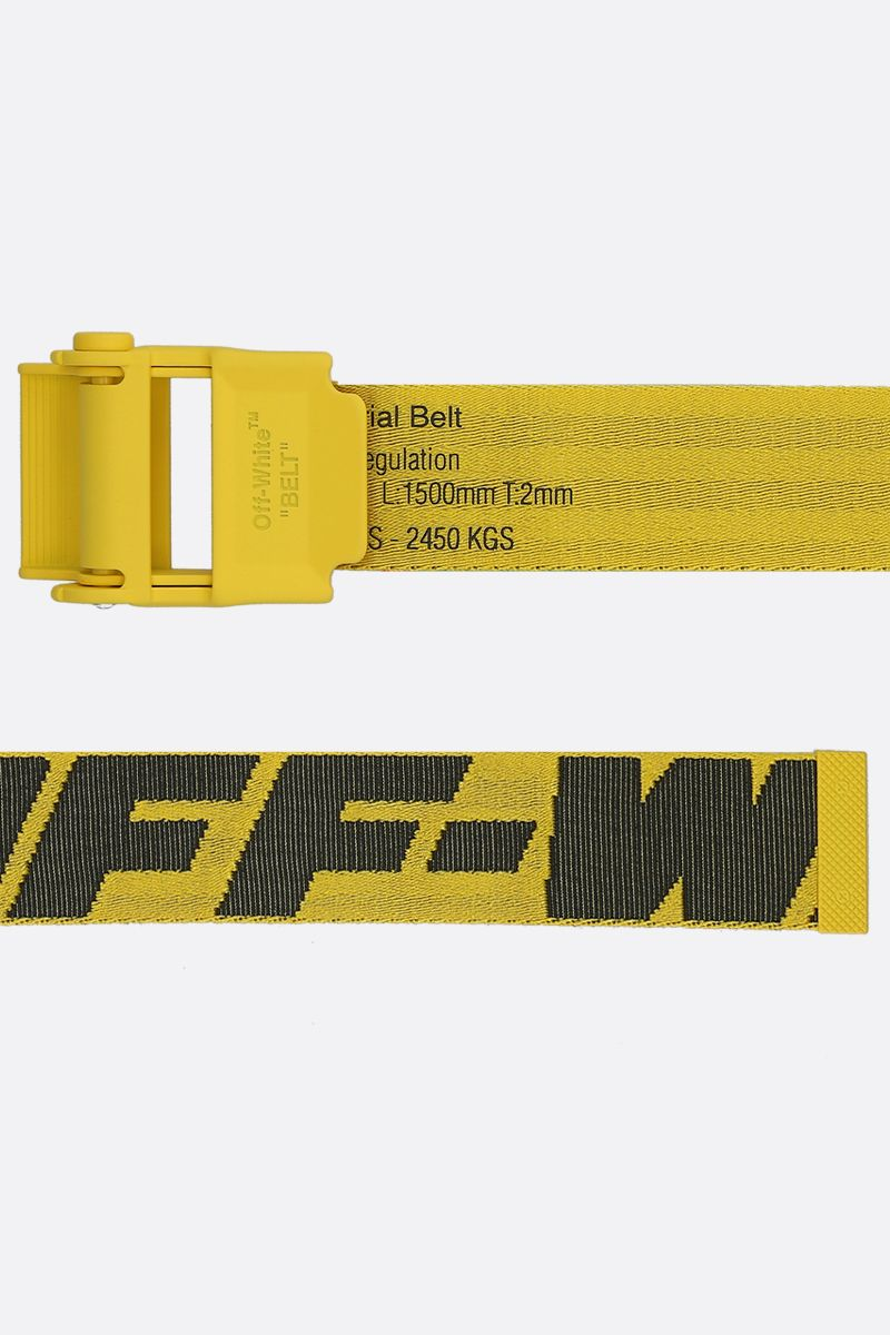 OFF WHITE: Industrial 2.0 logoed fabric belt Color Yellow_2