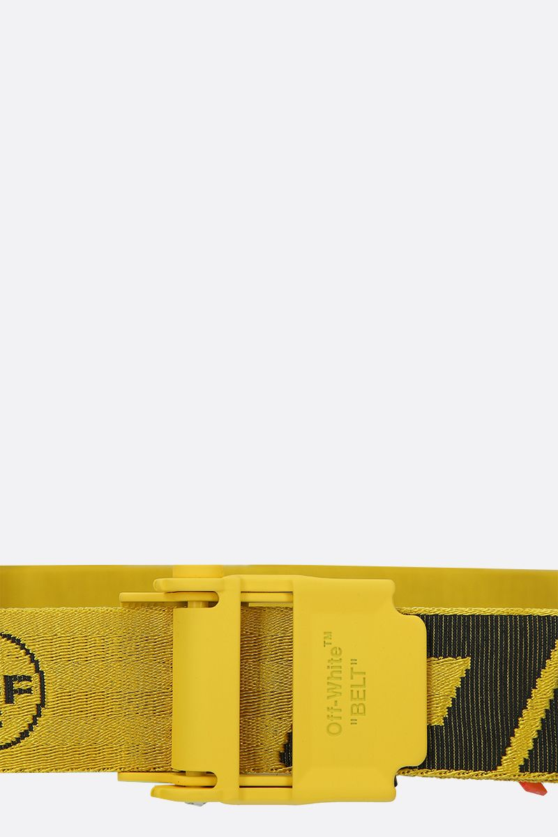 OFF WHITE: Industrial 2.0 logoed fabric belt Color Yellow_3