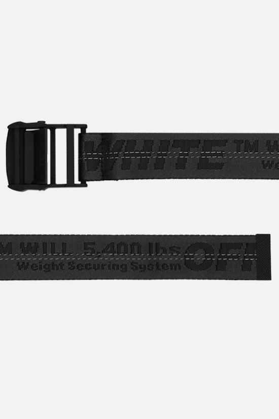 OFF WHITE: Classic Industrial logoed fabric belt Color Black_2