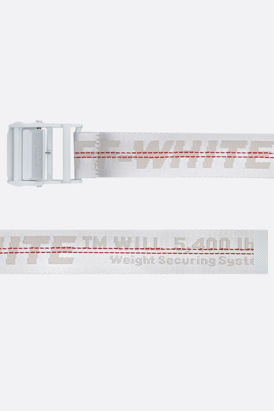 OFF WHITE: Classic Industrial logoed fabric belt Color White_2