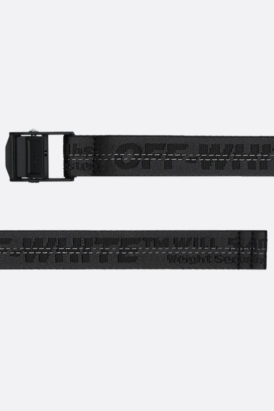 OFF WHITE: Industrial mini logoed fabric belt Color Black_2