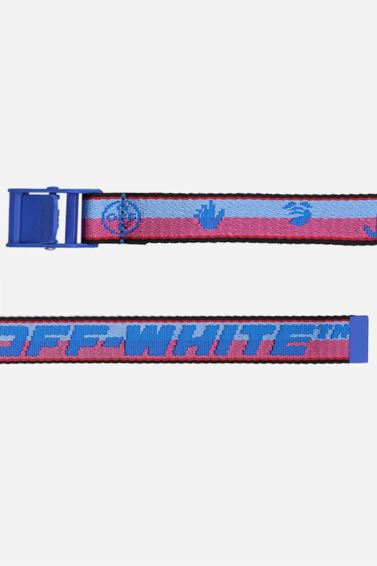 OFF WHITE: cintura Industrial mini New Logo in tessuto Colore Blu_2