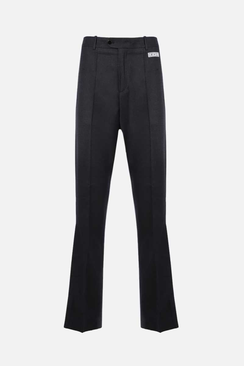 OFF WHITE: pleated hem-detailed stretch wool pants Color Black_1