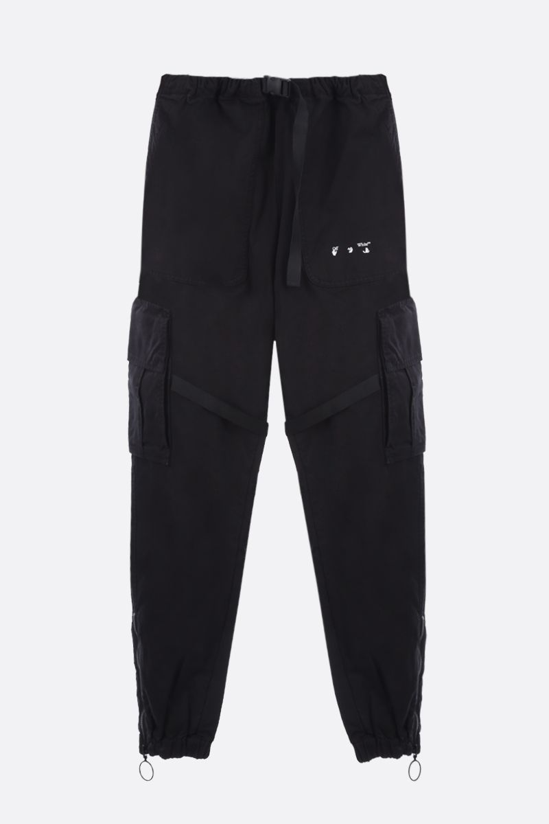OFF WHITE: cotton cargo pants Color Black_1