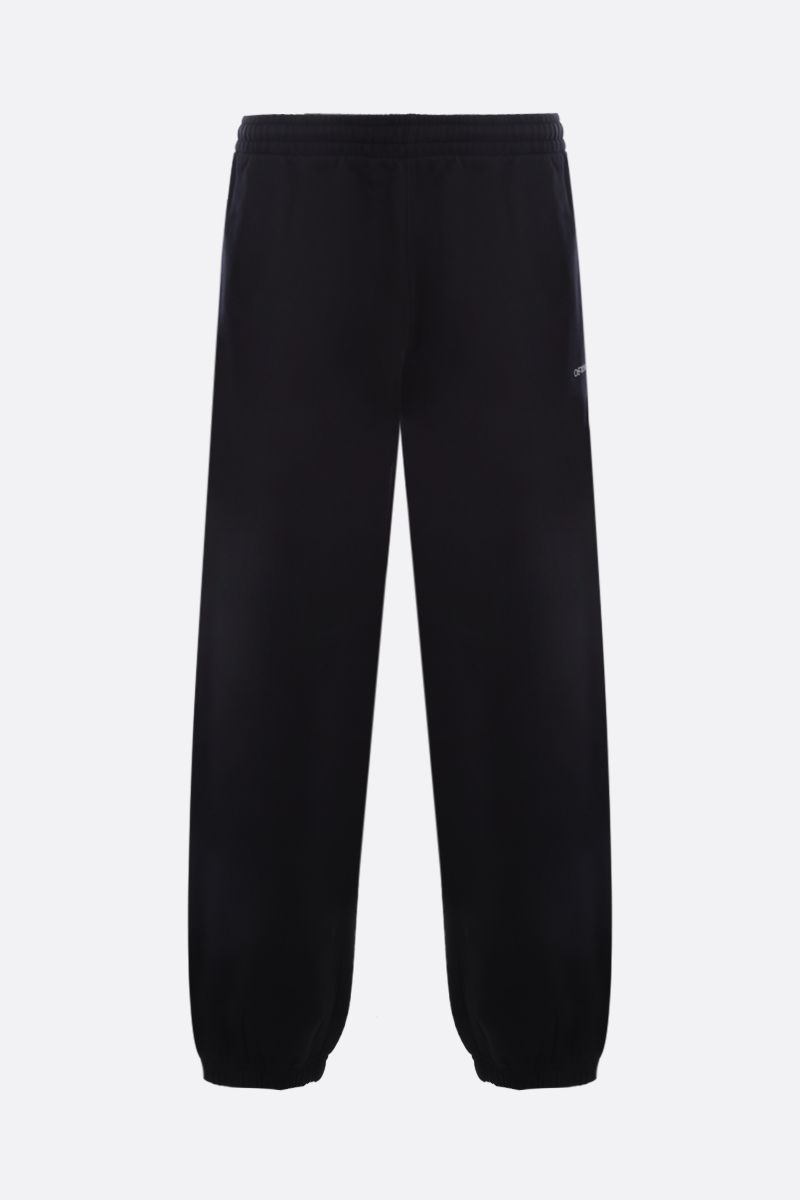 OFF WHITE: Stencil cotton joggers Color Black_1
