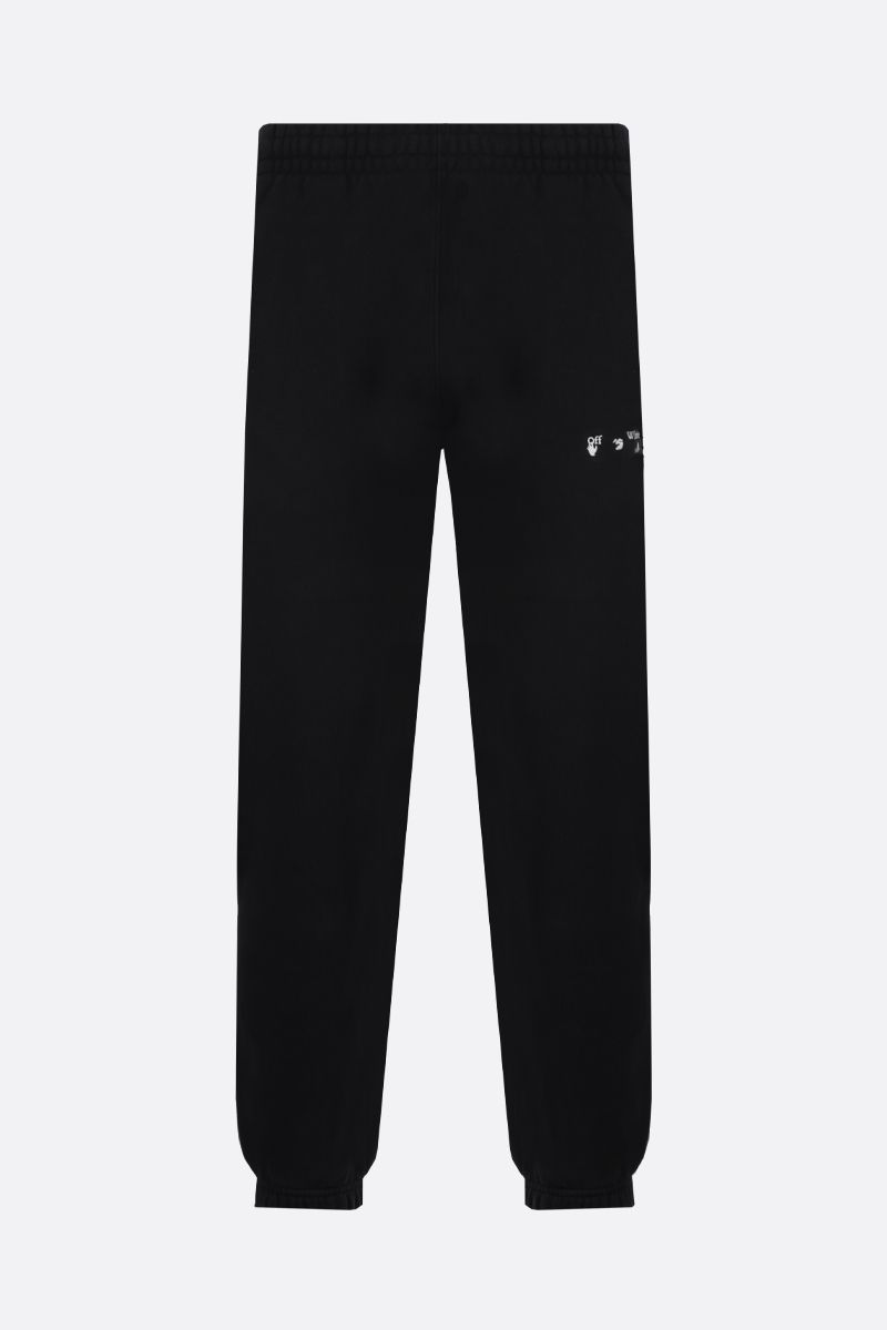OFF WHITE: pantalone jogging in cotone stampa Diagonals Colore Nero_1