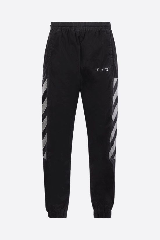 OFF WHITE: pantalone jogging Diagonals in nylon Colore Nero_1