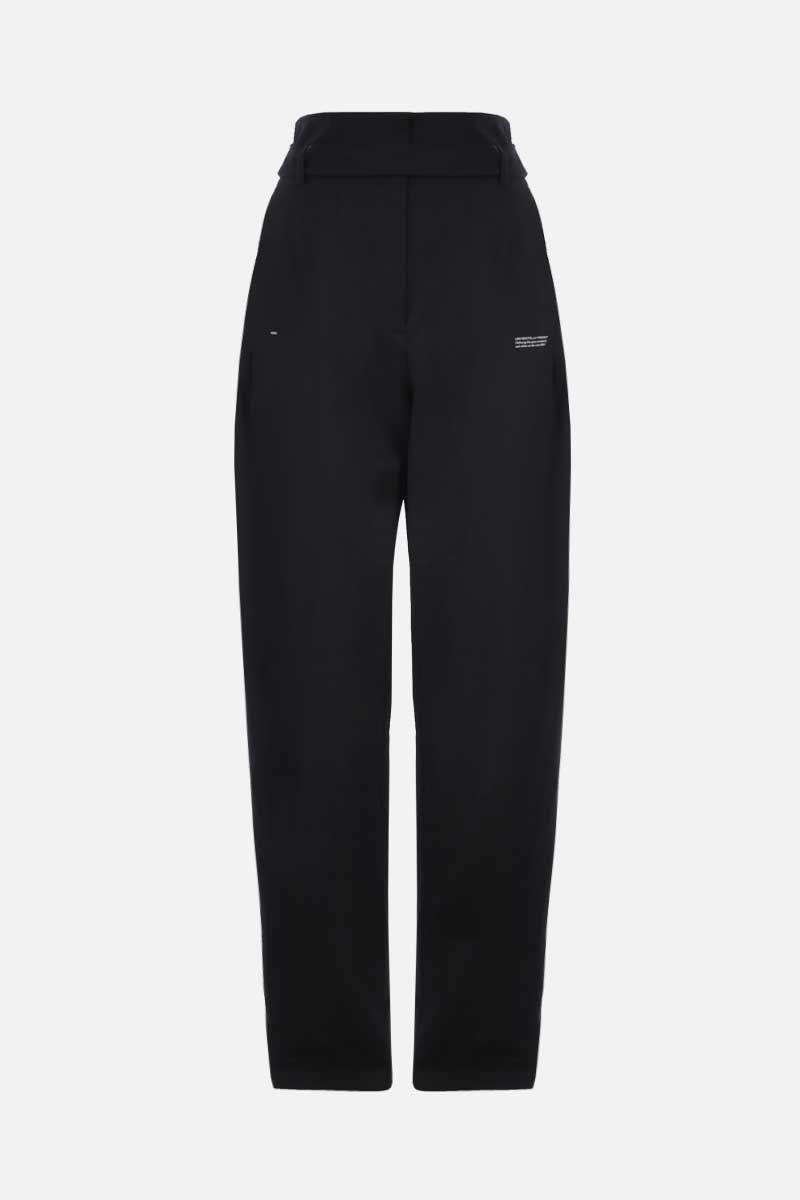 OFF WHITE: logoed band-detailed wool blend high-waist pants Color Black_1