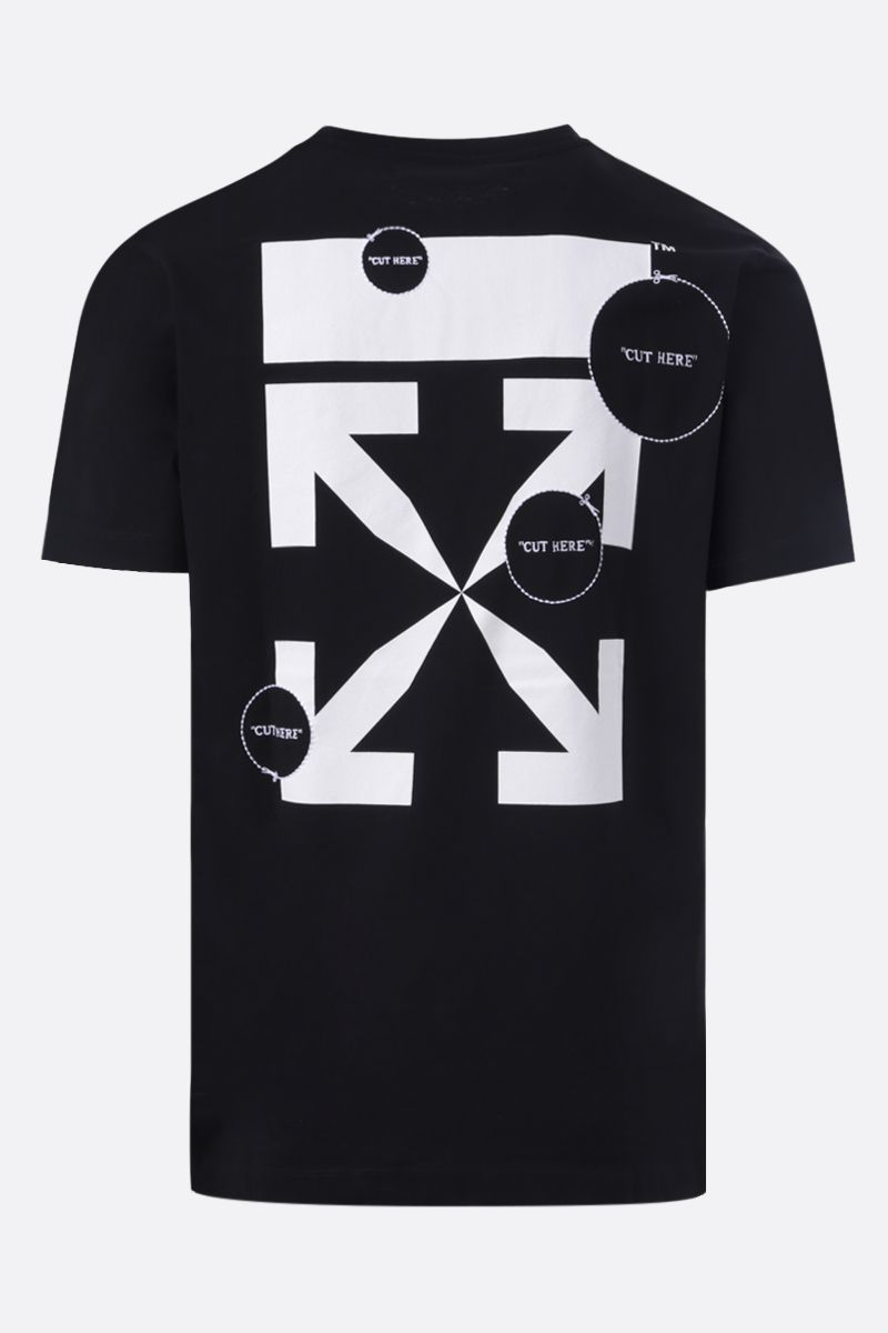 OFF WHITE: t-shirt Cut Here in cotone Colore Nero_2