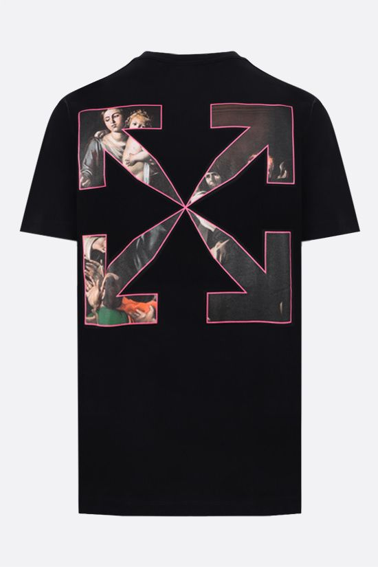 OFF WHITE: Sprayed Caravaggio cotton t-shirt Color Black_2