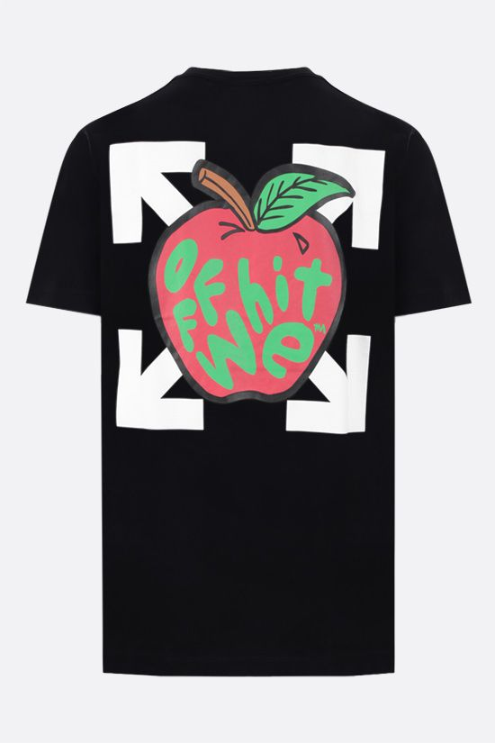 OFF WHITE: Apple cotton t-shirt Color Black_2