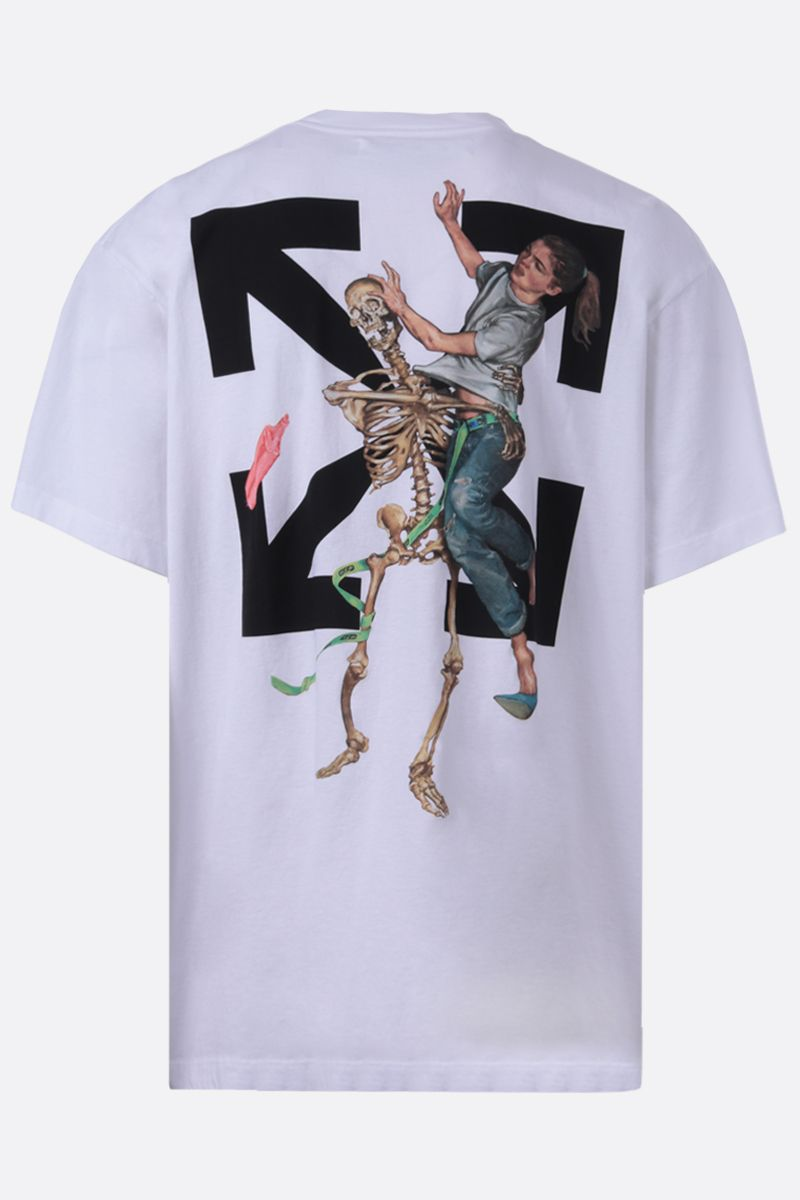 OFF WHITE: t-shirt oversize Pascal Skeleton in cotone Colore Bianco_2