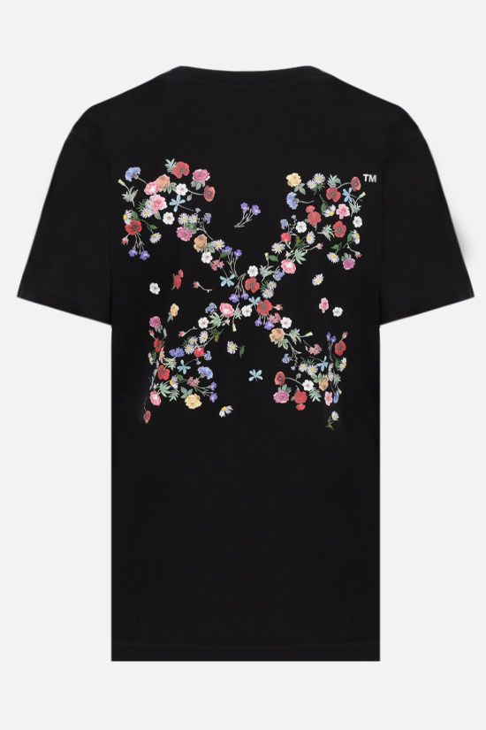 OFF WHITE: t-shirt Arrow Flowers in cotone Colore Nero_2
