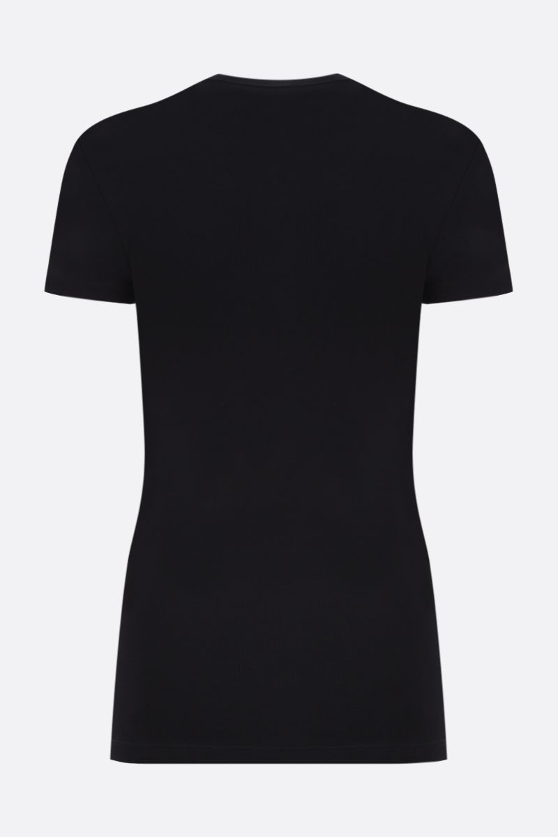 OFF WHITE: OFF ribbed stretch cotton t-shirt Color Black_2