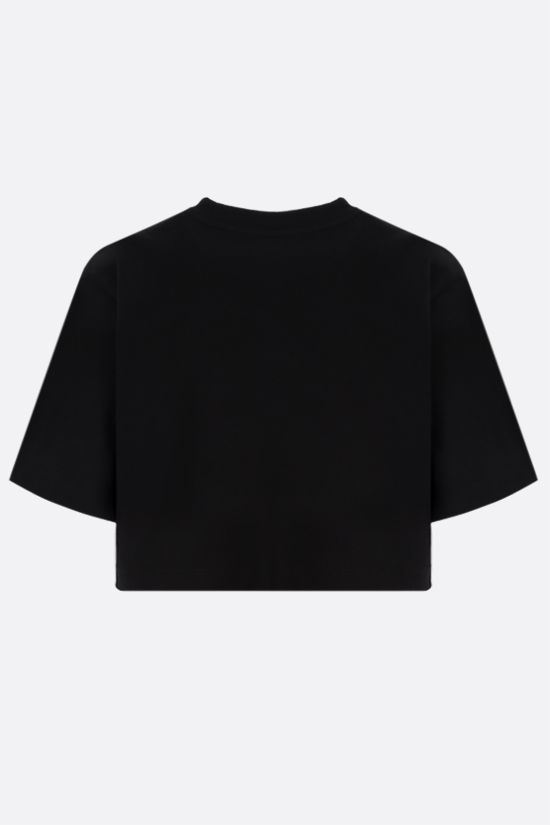 OFF WHITE: OFF print stretch cotton cropped t-shirt Color Black_2