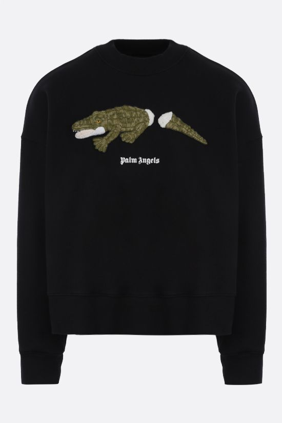 PALM ANGELS: Croco oversize cotton sweatshirt Color Black_1