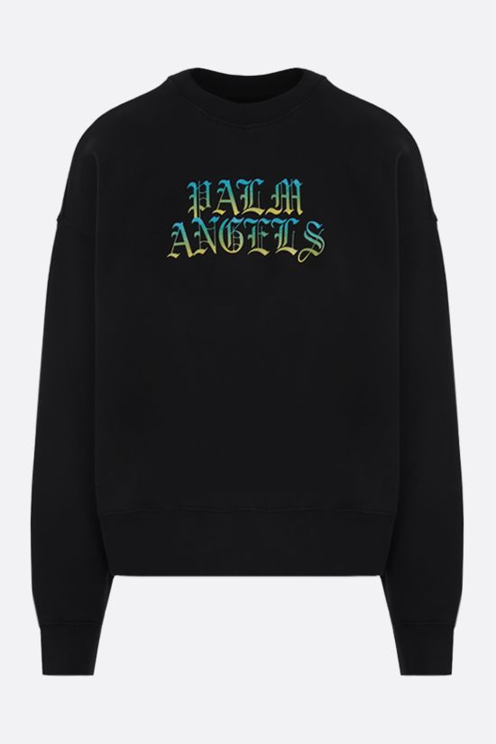 PALM ANGELS: felpa oversize Hue Gothic Logo in cotone Colore Nero_1
