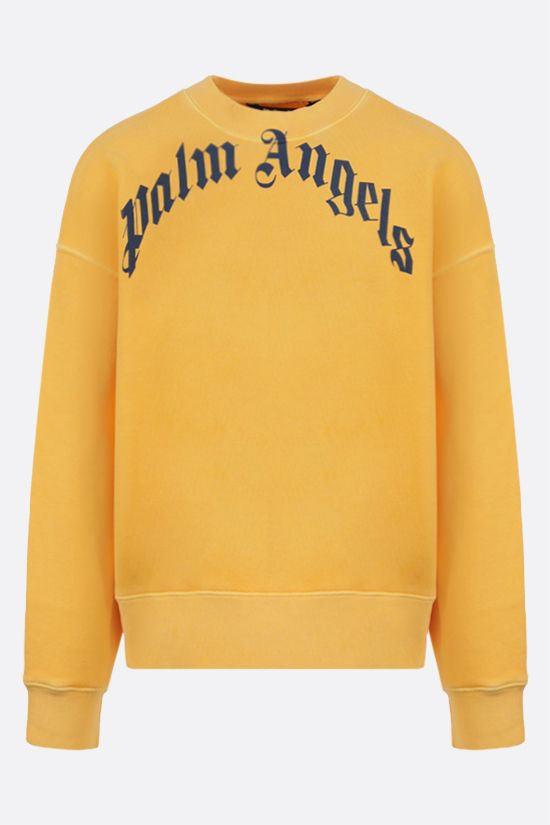 PALM ANGELS: Curved Logo cotton sweatshirt Color Yellow_1