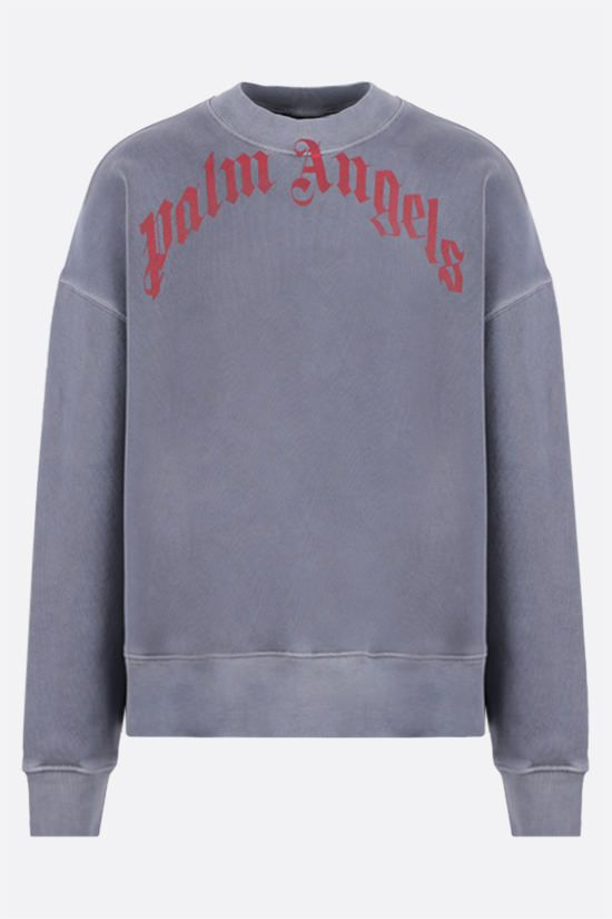 PALM ANGELS: Curved Logo cotton sweatshirt Color Blue_1