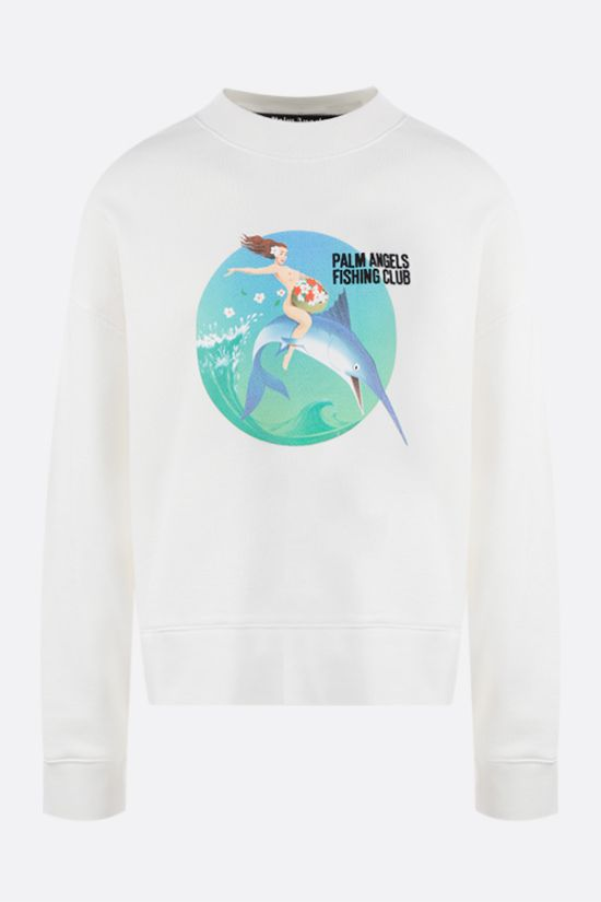 PALM ANGELS: Fishing Club oversize cotton sweatshirt Color White_1