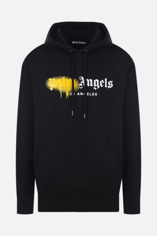 PALM ANGELS: LA Sprayed Logo cotton hoodie Color Black_1