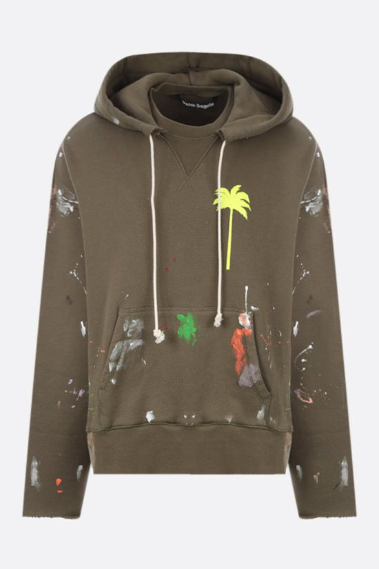 PALM ANGELS: felpa oversize Painted Palm Tree in cotone Colore Verde_1
