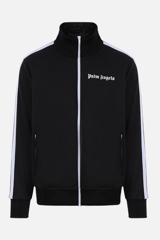 PALM ANGELS: logo print technical jersey full-zip sweatshirt Color Black_1