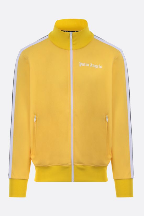 PALM ANGELS: logo print technical jersey full-zip sweatshirt Color Yellow_1