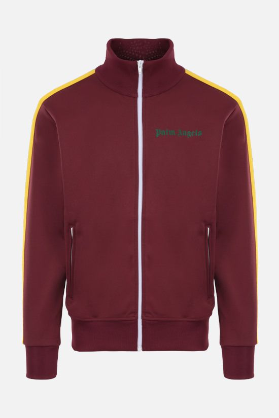 PALM ANGELS: felpa full-zip in jersey tecnico stampa logo Colore Rosso_1