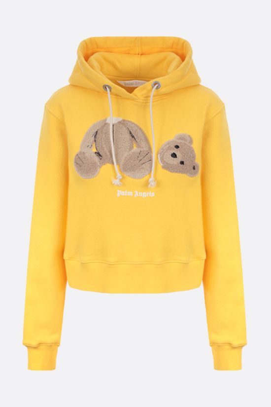 PALM ANGELS: Bear cropped cotton hoodie Color Yellow_1