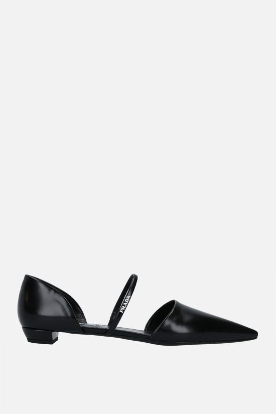 PRADA: brushed leather slippers Color Black_1