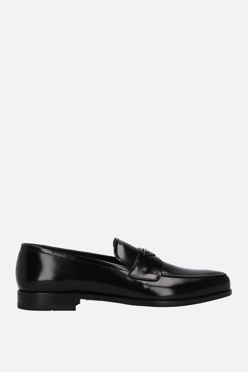 PRADA: logo-detailed brushed leather loafers Color Black_1