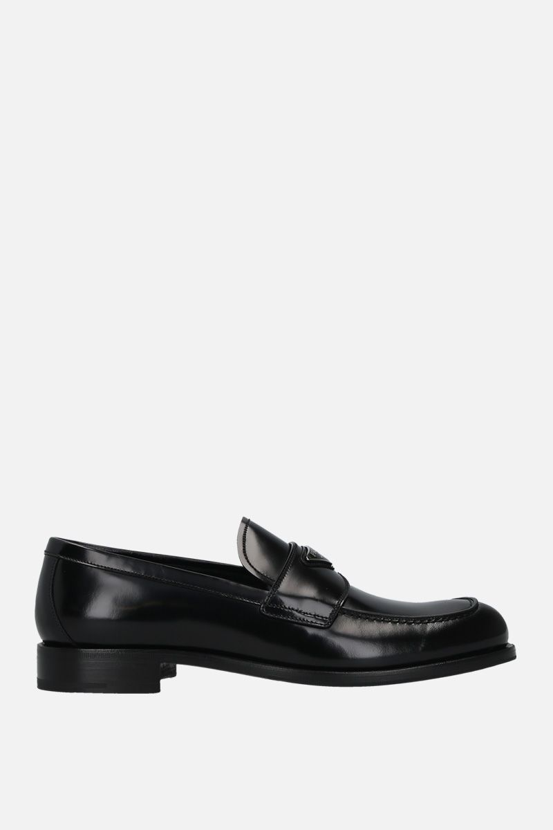 PRADA: brushed leather loafers Color Black_1