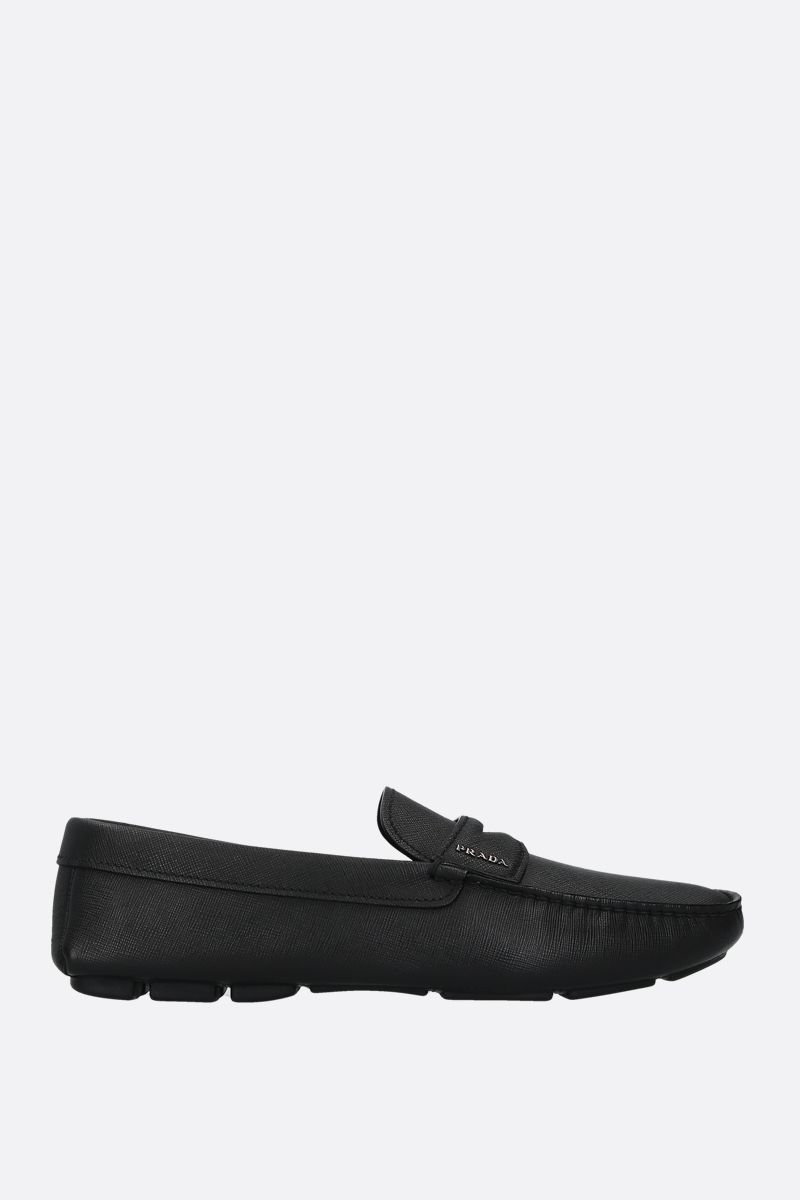 PRADA: Saffiano leather driving loafers Color Black_1