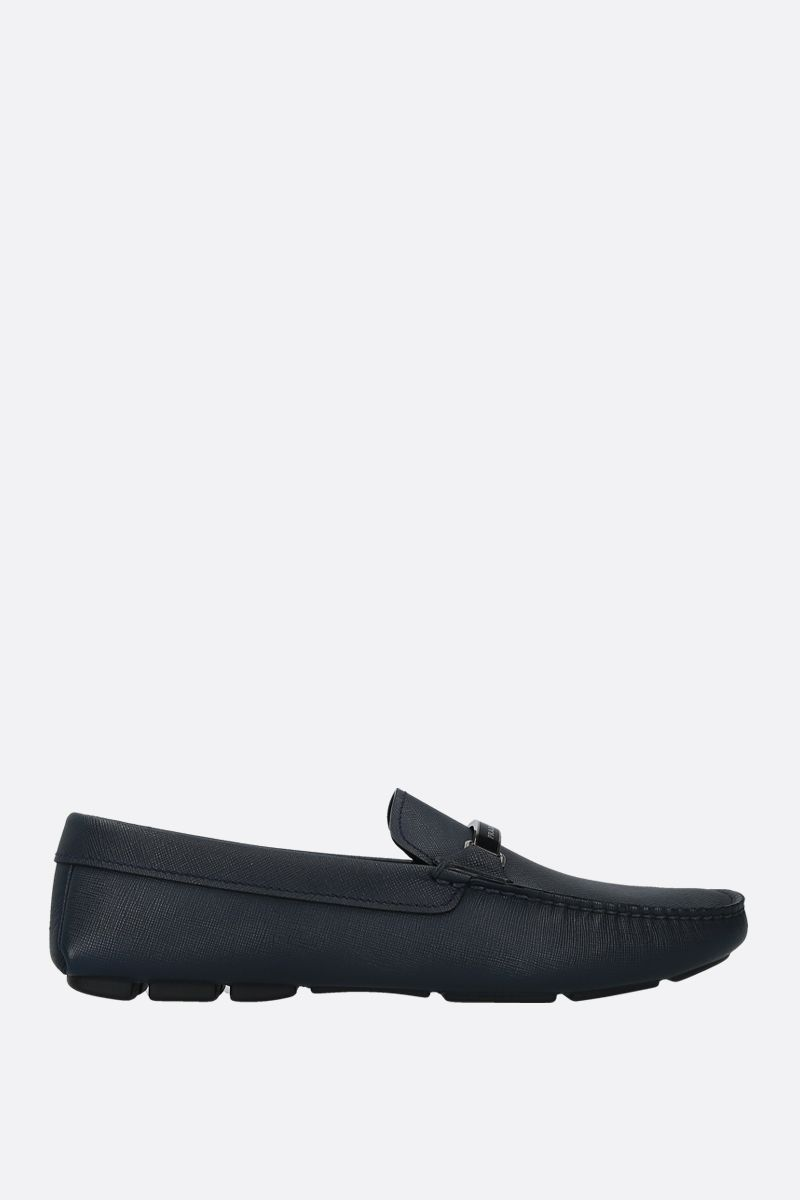PRADA: Saffiano leather loafers Color Blue_1