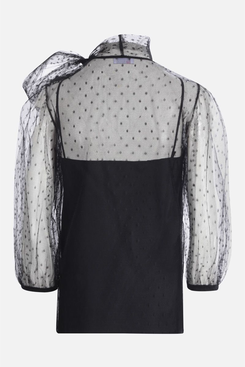 RED VALENTINO: blusa in tulle point d'esprit Colore Nero_2