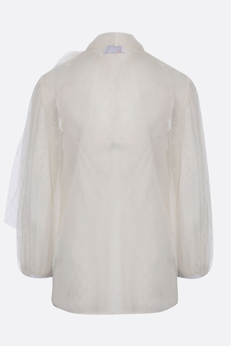 RED VALENTINO: point d'esprit tulle blouse Color White_2