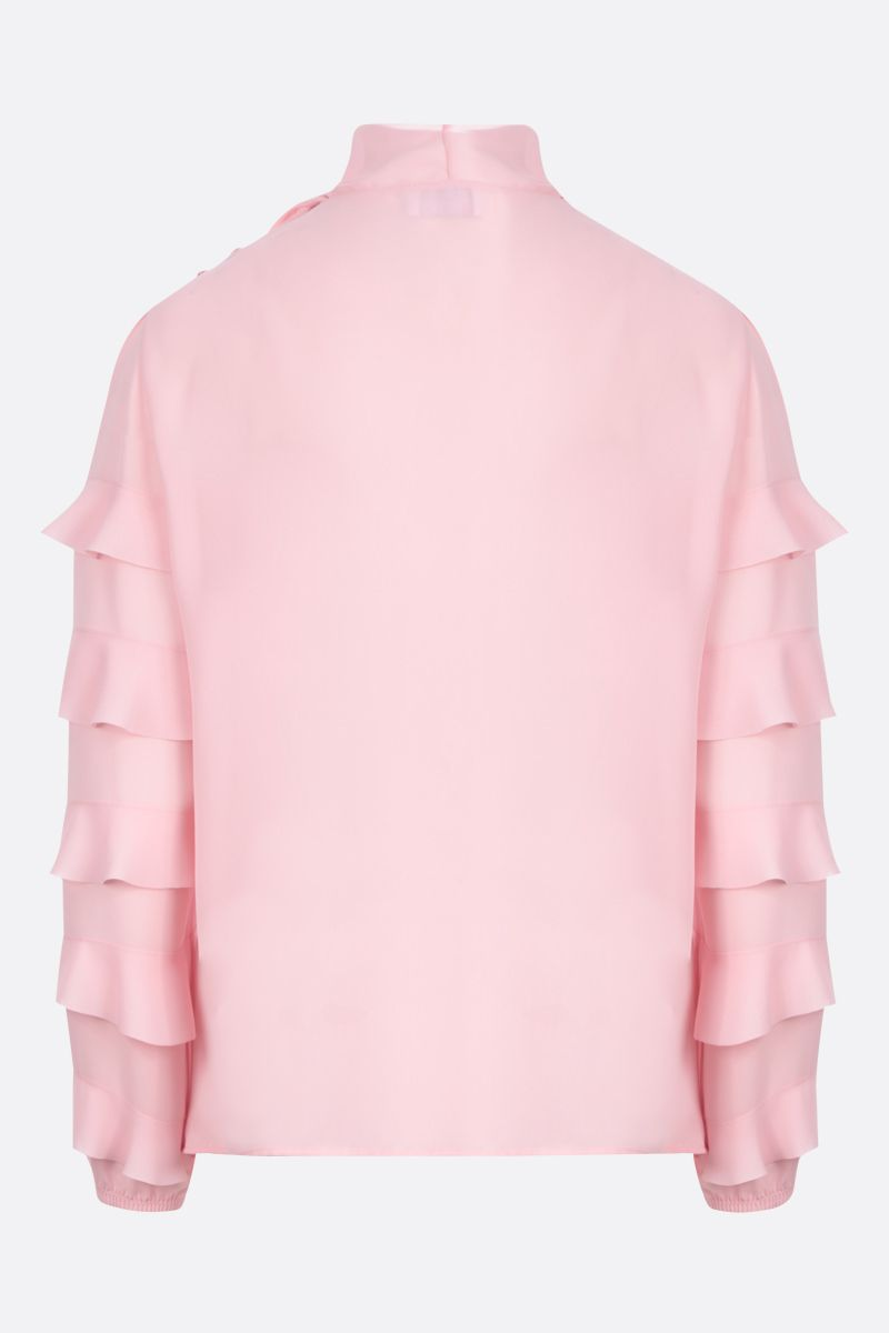 RED VALENTINO: blusa in crepe de chine con rouches Colore Rosa_2