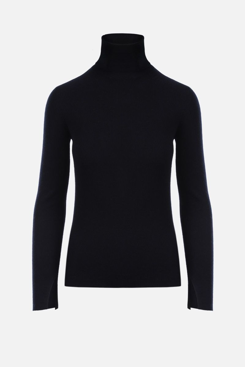 'S MAX MARA: Ginevra ribbed wool turtleneck Color Blue_1