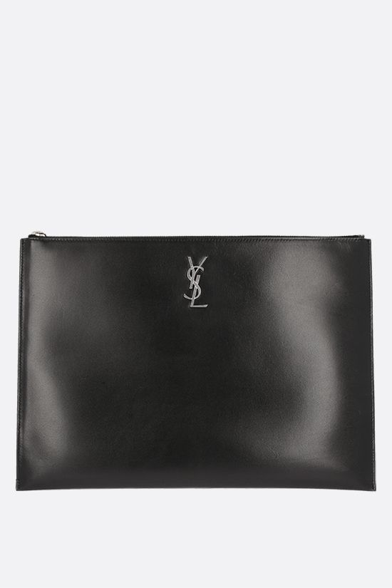 SAINT LAURENT: Monogram pouch in smooth leather Color Black_1