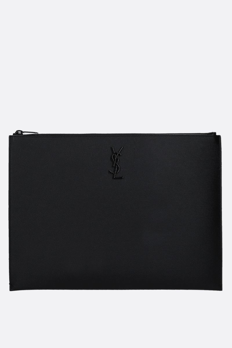 SAINT LAURENT: Monogram Grain de Poudre leather pouch Color Black_1