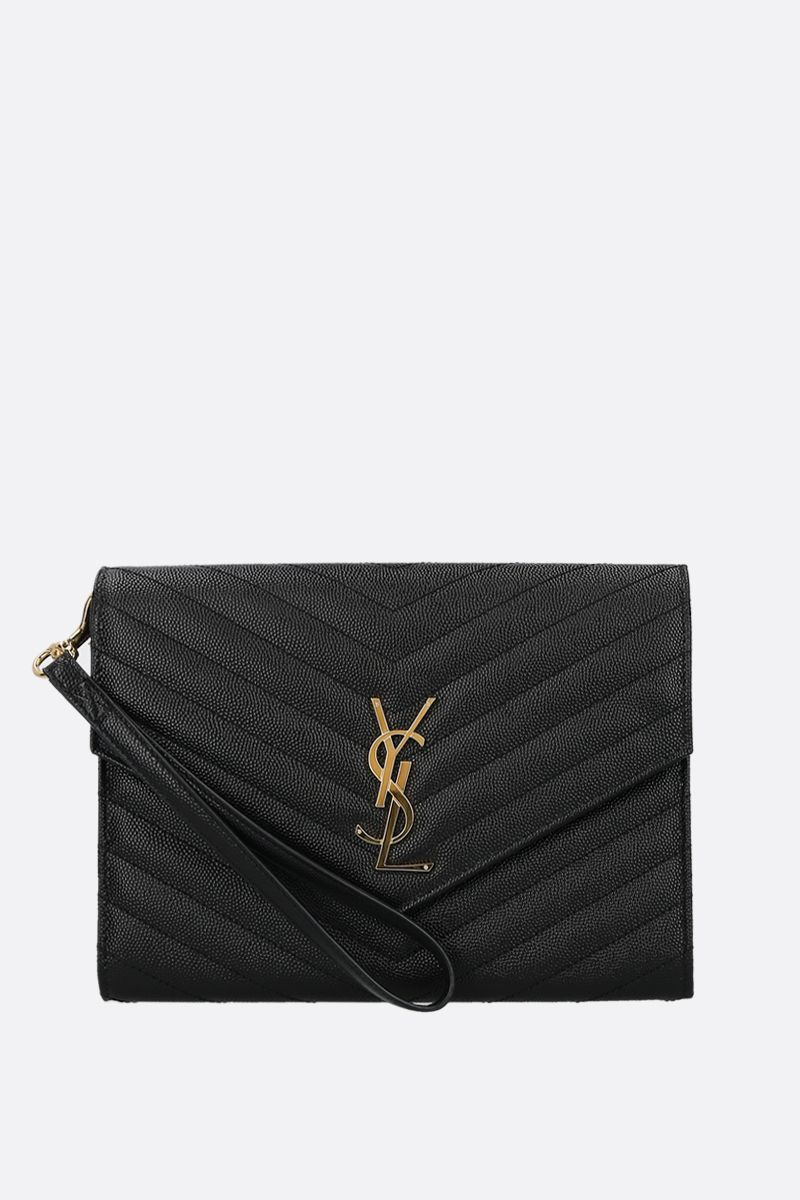 SAINT LAURENT: clutch Monogram in pelle Grain de Poudre Colore Nero_1