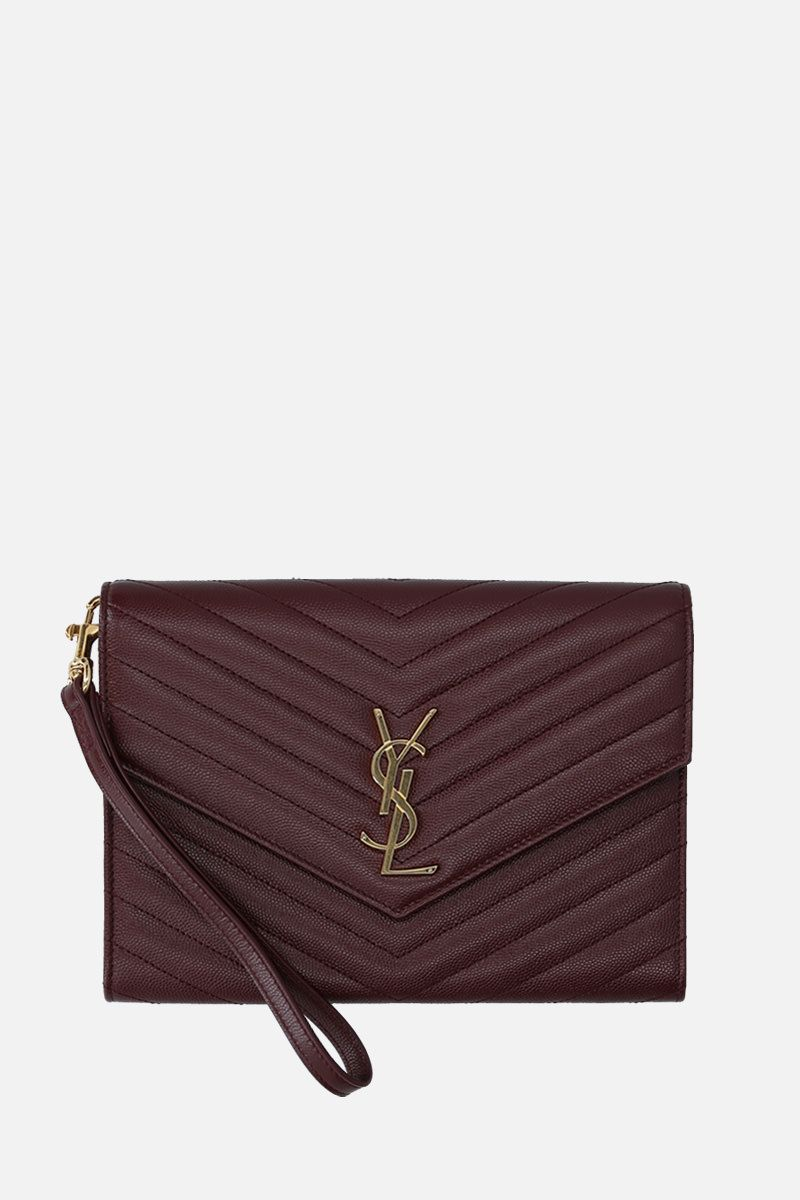 SAINT LAURENT: Monogram quilted leather clutch Color Red_1