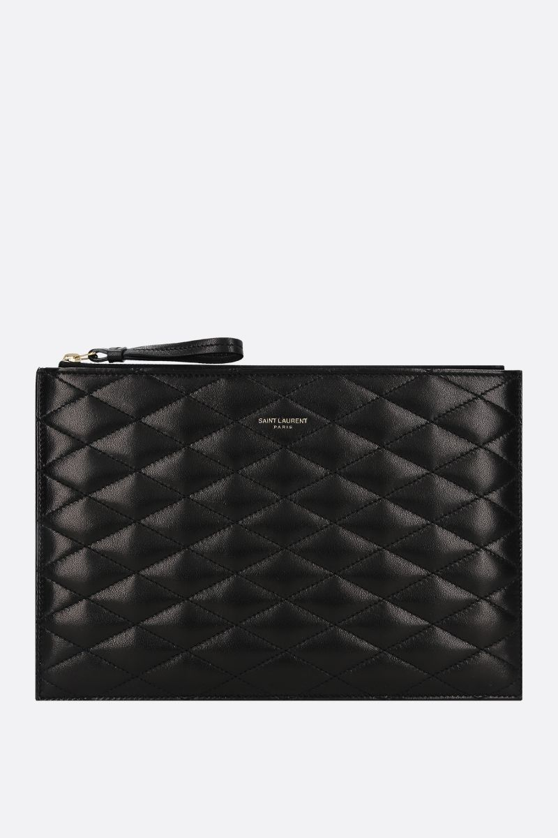 SAINT LAURENT: Sade quilted nappa pouch Color Black_1