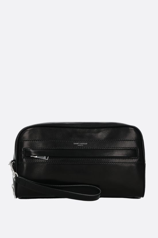 SAINT LAURENT: Camp soft nappa camera pouch Color Black_1
